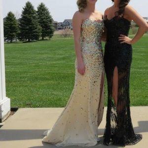 Gold strapless prom dress
